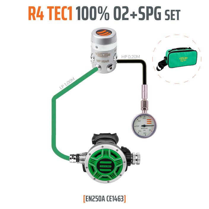 10003-94 - Regulator R4 TEC1 100% O2 M26x2 with SPG, Stage Set - EN250A