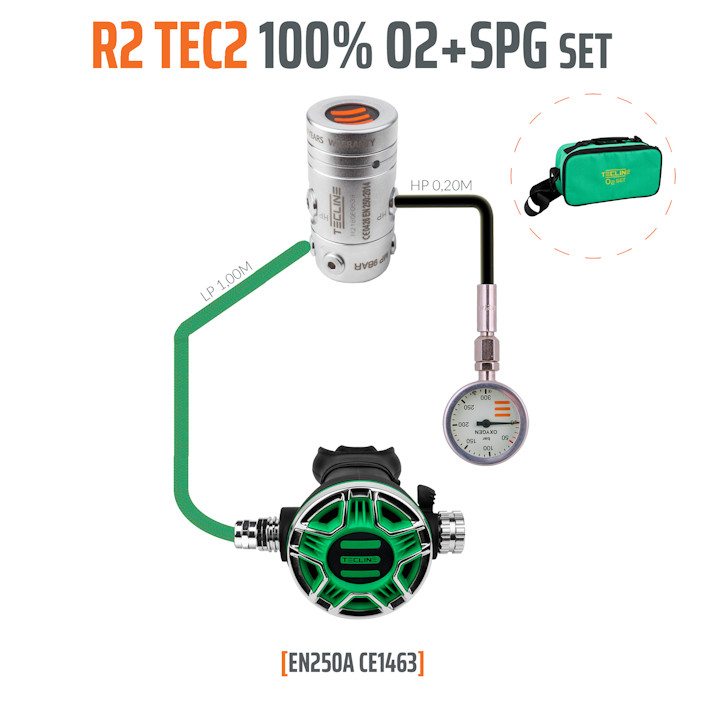 T15445 - Regulator R2 TEC2 100% O2 M26x2 with SPG, Stage Set - EN250A